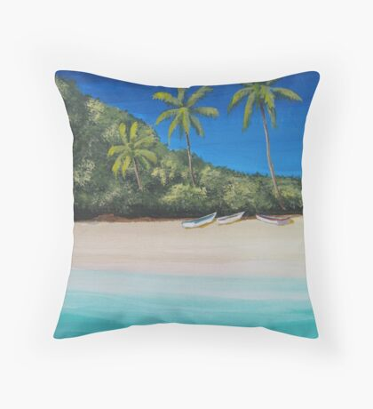 Coconut Trees, Beach and Boats Throw Pillow
