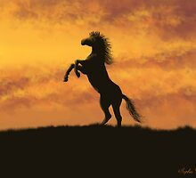Rearing Stallion at Sunset by SophiaDeLuna
