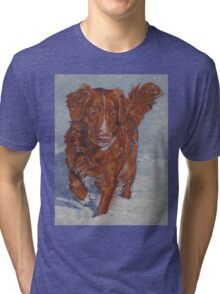 Nova Scotia Duck Tolling Retriever Fine Art Painting Tri-blend T-Shirt