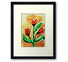 Tulips, watercolor Framed Print