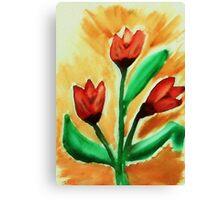 Tulips, watercolor Canvas Print