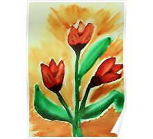 Tulips, watercolor Poster