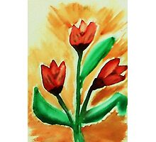 Tulips, watercolor Photographic Print