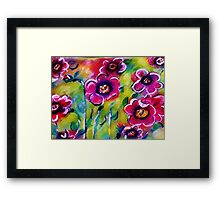 Abstract Poppies, watercolor Framed Print