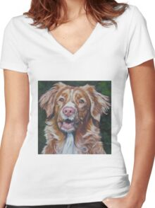 Nova Scotia Duck Tolling Retriever Fine Art Painting Women's Fitted V-Neck T-Shirt