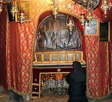 Praying at Nativity Grotto in Nativity Church by muniralawi