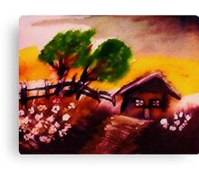 Cabin on a hill,watercolor Canvas Print