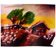Cabin on a hill,watercolor Poster
