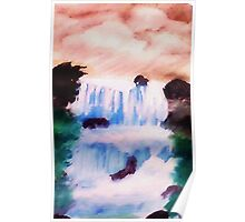Tiered Waterfall, watercolor Poster