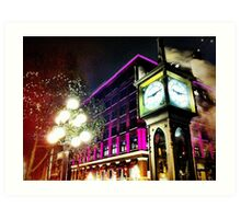 Gastown Clock (color) Art Print