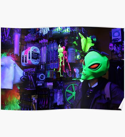 alien abduction glowing photo Poster