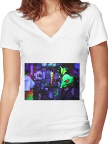 alien abduction glowing photo Women's Fitted V-Neck T-Shirt
