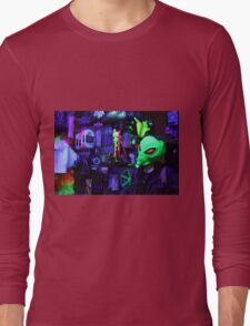 alien abduction glowing photo Long Sleeve T-Shirt
