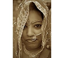 Varanasi Bride in Sepia Photographic Print