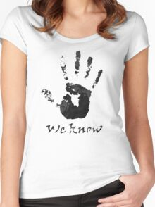We Know Letter (BLACK AND WHITE) - The Dark Brotherhood Women's Fitted Scoop T-Shirt