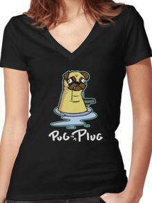 Pug in a Plug Women's Fitted V-Neck T-Shirt