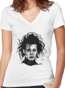 Tribute to Edward Scissorhands *RE-EDITED Women's Fitted V-Neck T-Shirt