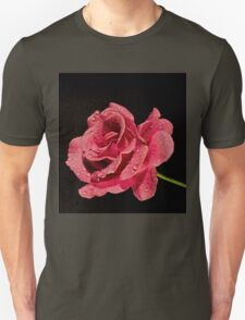 Pink Rose Laying on a Dark Background T-Shirt