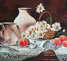 Peaches, daisies and lace by Dan Wilcox