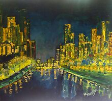 Southbank at Night Melbourne Vic Australia by Margaret Morgan (Watkins)