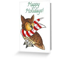 Cozy Christmas Owl Greeting Card