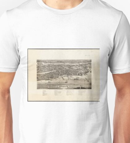 Vintage Pictorial Map of St. Augustine FL (1885) Unisex T-Shirt