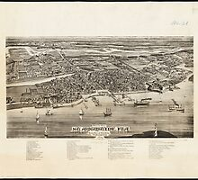 Vintage Pictorial Map of St. Augustine FL (1885) by BravuraMedia