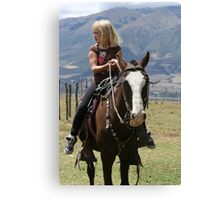 Young Blond Girl on a Horse Canvas Print
