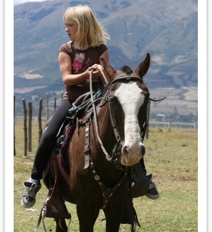 Young Blond Girl on a Horse Sticker