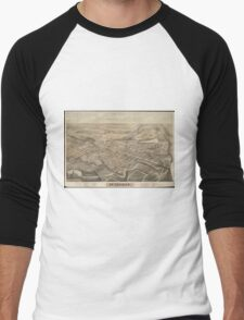 Vintage Pictorial Map of St. Thomas Ontario (1875) Men's Baseball ¾ T-Shirt