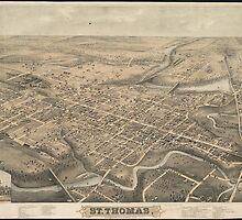 Vintage Pictorial Map of St. Thomas Ontario (1875) by BravuraMedia