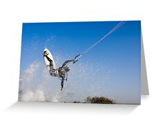 Kitesurfing in the Mediterranean sea  Greeting Card
