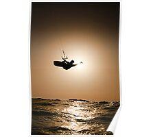 Kitesurfing at sunset Poster