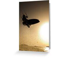 Kitesurfing at sunset in the Mediterranean sea  Greeting Card
