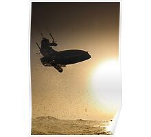 Kitesurfing at sunset in the Mediterranean sea  Poster