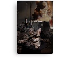 Steampunk Sid Kitten Overlord Canvas Print