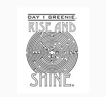 Rise and Shine, Greenie. Womens Fitted T-Shirt