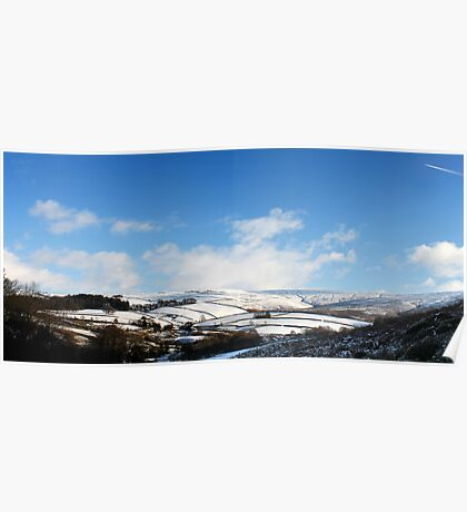 Snowy Patchwork, Bray Clough, Glossop Poster