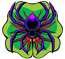 Black Widow Spider on Four Leaf Clover by scooterbaby