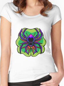 Black Widow Spider on Four Leaf Clover Women's Fitted Scoop T-Shirt