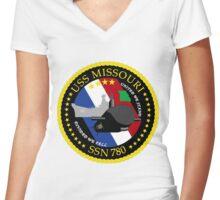 SSN-780 USS Missouri Crest Women's Fitted V-Neck T-Shirt