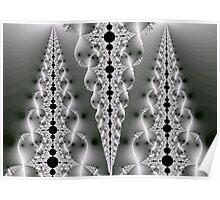 Pierced by the Light Fractal - Black and White Poster