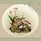 Bunny and Chipmunk with Spring Flowers by Rupert Mcgrath