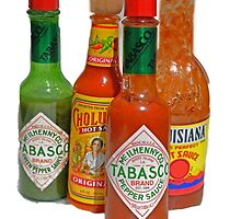 many hot sauces by Gale Distler