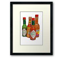 many hot sauces Framed Print