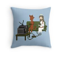 Jesus And Devil Playing Video Games Pixel Art Throw Pillow