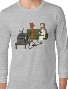Jesus And Devil Playing Video Games Pixel Art Long Sleeve T-Shirt