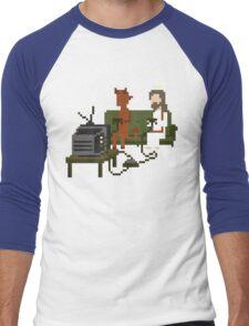 Jesus And Devil Playing Video Games Pixel Art Men's Baseball ¾ T-Shirt