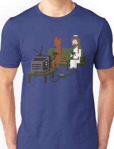 Jesus And Devil Playing Video Games Pixel Art Unisex T-Shirt