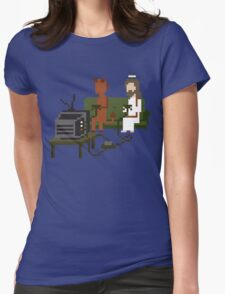 Jesus And Devil Playing Video Games Pixel Art Womens Fitted T-Shirt